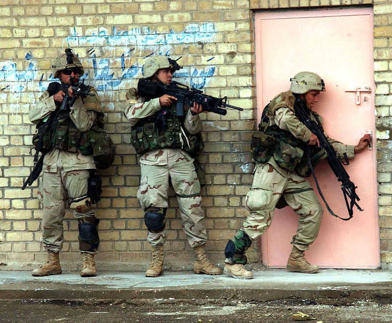 2004-Soldiers from the 1st Cavalry Division prepare to enter a building during the Second Battle of Fallujah. Photo courtesy of Wikipedia