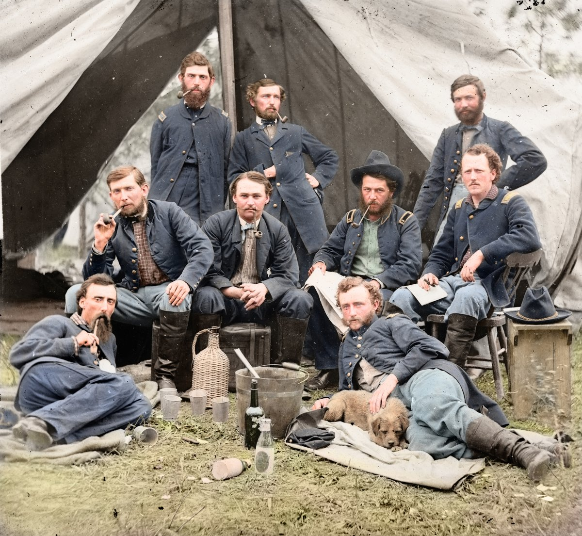 This photograph by Andrew Gardner depicts the staff of Brigadier General Andrew Porter in 1862. George Custer (of the Battle of Little Bighorn fame) is shown reclining next to a dog on the right. Today, technology allows colorization bringing older wars even closer to home by showing how it might have actually looked in person. Photo courtesy of Business Insider at http://linkis.com/vdO8K