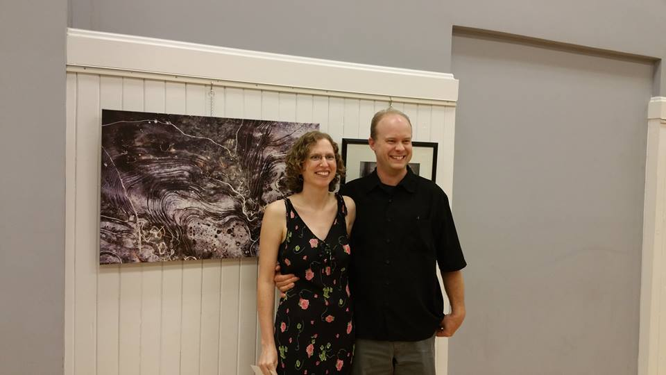 Liz and I posing in front of my canvas art print (Untitled), which received an honorable mention during the PROOFS 2015 reception Friday night. Photo by Mary Ray.