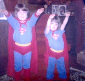 My sister and I in costume back in the 80s. The background didn't scream Superman, but our poses did!