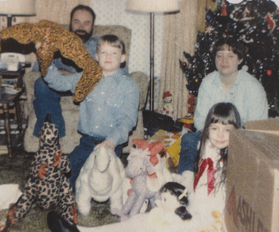 A quick family portrait from Christmas past. I got dinosaurs that year!