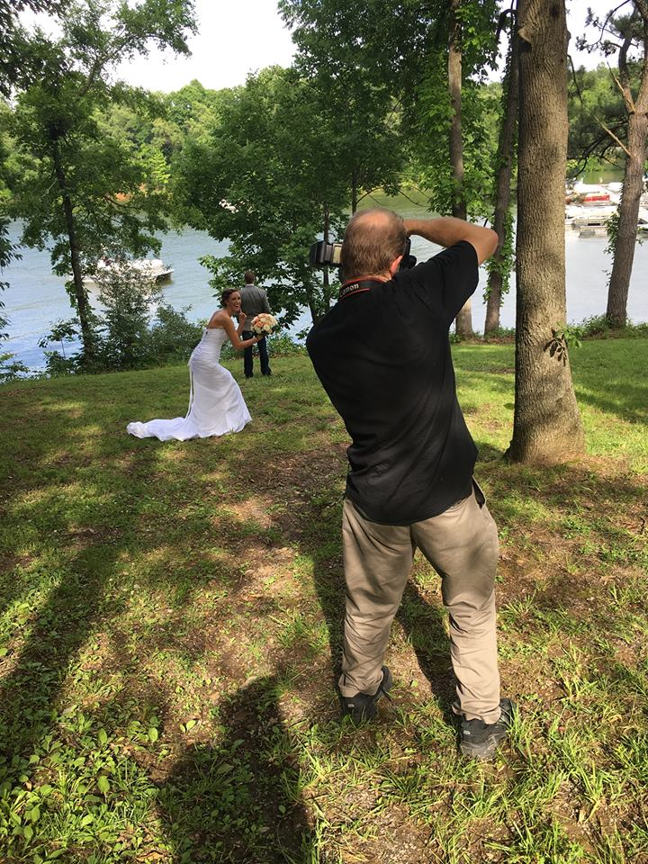Clicking a quasi-first-look portrait. What a beautiful day for this Memorial Day Wedding!